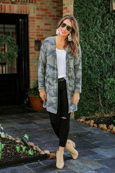 Shop Jess Lea Boutique Kylie Camo Cardigan #jesslea #jessleaboutique #jessleastyle #casualstyle #momstyle #casualoutfit #easyoutfit #ootd #boutique #boutiquestyle #camostyle #camocardigan #fallstyle #falloutfit
