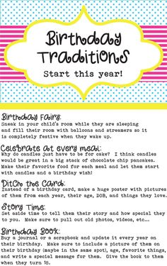 Birthday Traditions to Start With Your Kids - Waverly's first bday Kids And Parenting, Parenting Hacks, Gentle Parenting, Traditions To Start, Family Traditions, First Birthday Traditions, Birthday Fun, Birthday Ideas, Birthday Book