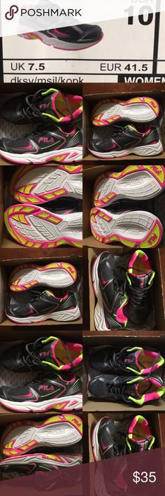 🌺Wmns Walking/Running/Training Shoes✨ Women's (sz 10) FILA Thunderfire brand new in box. Never worn! Neon pink and neon yellow. See pics! Perfect condition! So comfy! Fila Shoes Athletic Shoes