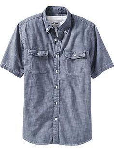 Pair this with nice khaki shorts, perfect look for a dad in summer! Men's Chambray Pocket Shirts | Old Navy