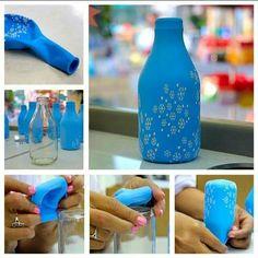 Botella. Cómo forrarlas con globos para decorarlas.