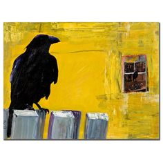 This ready to hang, gallery-wrapped art piece features a black bird on a fence. Instantly recognizable, the brilliant, saturated colors of Pat Saunders-White;s animal paintings have established her as