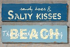 Pair of Large Plaques - Kisses & The Beach is Calling