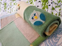 Upcycled Pure Cashmere Baby Blanket w/ Owl & Acorns Appliques from House of Rowan on Etsy.