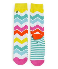 Look what I found on #zulily! Woven Pear Yellow & Blue & Orange Rainbow Sunrise Woven Socks by Woven Pear #zulilyfinds