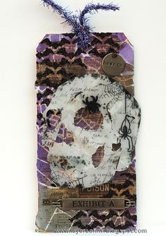 Our Creative Corner: Spooky Skull Tag by Anna-Karin from Layers of ink. Made with a Sizzix die by Tim Holtz, idea-ology products and Wendy Vecchi Clearly for Art Modeling Film.