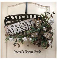 Xmas Wreaths, Spring Wreaths, Summer Wreath, Tobacco Basket Decor, Cotton Wreath, Farmhouse Decor, Farmhouse Ideas, Rustic Decor, Farmhouse Style