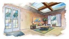 Resultado de imagen para perspective interior design drawing