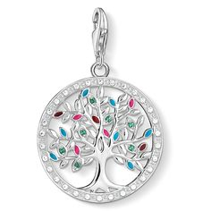 Charm pendant - lobster clasp - 925 Sterling silver - glass-ceramic stone green, zirconia white - turquoise, red, pink enamelled Colourful highlights meet vintage look: The Tree of Love in filigree cut-out design with colourful details promises a happy future.