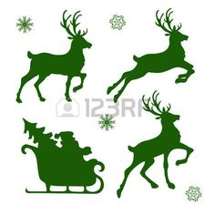 set of silhouettes of Christmas reindeer and Santa Illustration , Christmas Stencils, Christmas Wood Crafts, Christmas Yard, Christmas Templates, Christmas Holidays, Christmas Decorations, Vector Christmas, Rennes Animal, Reindeer Silhouette