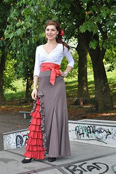 """Flamenco Skirt """"Cordobesa"""" in sizes Made to order in your choice of colours - Flamenco Costume, Flamenco Skirt, Flamenco Dresses, Spanish Fashion, Spanish Style, Skirts For Sale, Fashion Sewing, Designer Wear, World Of Fashion"""