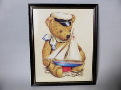 Vintage Brown Sailor Teddy Bear Nautical by EdenKitsch on Etsy Nautical Baby Nursery, Rustic Nursery Decor, Vintage Nursery, Brown Teddy Bear, Teddy Bears, Nautical Pictures, Bear Clipart, Sailor Outfits, Gold Paint