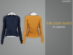 b197dabf942 Elliesimple - Pearl Collar Sweater Sims 4 Mods Clothes