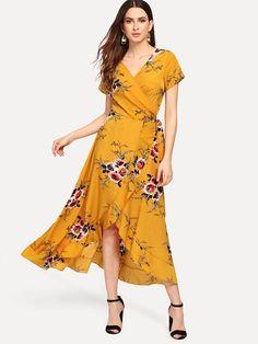 06bffb59a8 Lulus | Heart of Marigold Yellow Tropical Print Wrap Maxi Dress ...