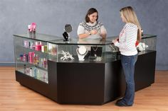 LED Lit Jewelry Showcase | Black Corner Vision Case  --  Ideal for jewelry stores or smaller boutiques