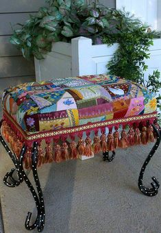 Beautiful use of crazy quilting. Crazy Quilting, Crazy Patchwork, Patchwork Ideas, Funky Furniture, Painted Furniture, Do It Yourself Vintage, Estilo Kitsch, Rug Hooking, Bohemian Decor