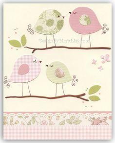 Baby Room Wall Art Print Art Love birds Baby by DesignByMaya