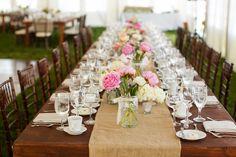 Head table and custom burlap runner beach wedding | Mark Padgett Wedding Design
