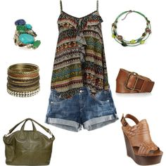 brown & green, created by traci-oleary-reue... (all except the shoes)