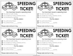 speeding ticket printable.-- maybe for kids who rush