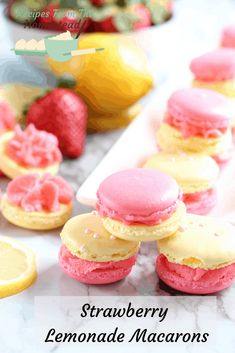 All the bright flavors of Spring coming to you in a crispy, chewy cookie! These … All the bright flavors of Spring coming to you in a crispy, chewy cookie! These strawberry lemonade macarons make the perfect treat for Mother's Day! French Macaroon Recipes, French Macaroons, French Macaron Flavors, Macaron Cookies, Macaron Recipe, Shortbread Cookies, Baking Recipes, Cookie Recipes, Dessert Recipes