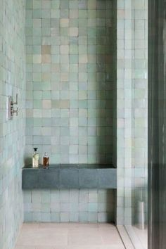 Zellige Tiles Are Right For Right Now Blue green Moroccoan zellige tiles. Why Zellige Tiles Are Right For Right NowBlue green Moroccoan zellige tiles. Why Zellige Tiles Are Right For Right Now Pastel Bathroom, Bathroom Inspiration, Bathroom Decor, Interior, Bathrooms Remodel, Beautiful Bathrooms, Tile Bathroom, House Interior, Bathroom Design