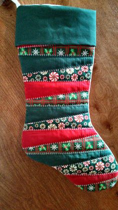 Homemade Quilted Christmas Stocking by SewDangCreative on Etsy Quilted Christmas Stockings, Christmas Patchwork, Christmas Stocking Pattern, Xmas Stockings, Diy Christmas Tree, Homemade Christmas, Christmas Decorations, Christmas Quilting, Homemade Decorations