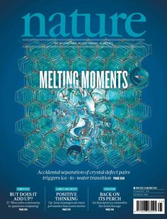Nature, Volume 498 Number 7454. When ice melts, the process usually starts around defects or near the surface, where the crystalline structure is relatively easily transformed into liquid water. Cover graphic illustrates the appearance of liquid water in the crystalline structure. Nature Publishing Group