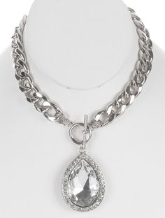 CHUNK CHAIN WITH GORGEOUS FACETED TEARDROP CRYSTAL STONE AND PAVE CRYSTAL - FREE SHIPPING