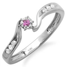 DazzlingRock Collection 10K White Gold Round Pink Sapphire And White Diamond Ladies Promise Bridal Engagement Ring