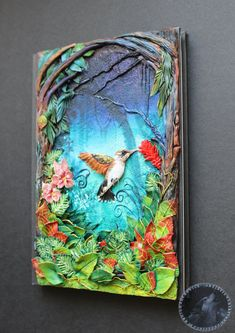 Beautiful and unique polymer clay notebook cover with humming-bird ✽ Size 210 x 148 mm / x in] -only front cover Journal Covers, Book Journal, Journals, Polymer Clay Art, Polymer Clay Jewelry, Homemade Books, Clay Design, Diy Clay, Clay Creations