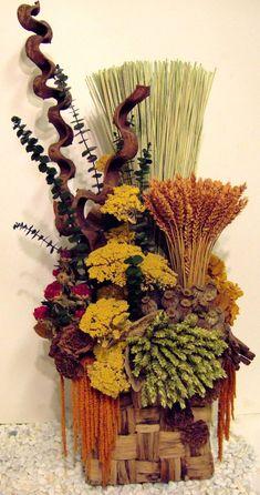 Centro de mesa redondo de flores secas la decoraci n - Arreglos florales con flores secas ...