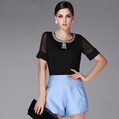 Image result for black blouse with rhinestones