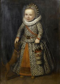 Attributed to Cornelis de Vos, Portrait of a little boy with a dog and a basket…