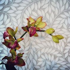 This gorgeous stone vine mosaic is the perfect backdrop to this pretty orchid #UniqueStoneImports #UniqueTile