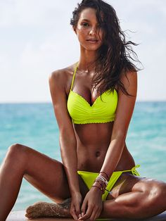 Neon or not, you can't miss this scalloped bikini, on a crowded beach OR on the Victoria's Secret Swim Special. Hooray for THAT! | Victoria's Secret The Getaway Halter