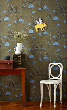 Magnetlc Woodlands wallpaper in Khaki Blue! comes with 10 magnetic characters to create your own scenes :).