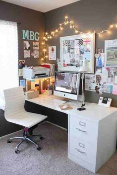 .file cabinet, small desk, white and grey...BAM.