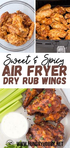 Sweet and spicy dry rub air fryer chicken wings are easy to make, crispy, packed with flavor, and perfect to eat with any dipping or wing sauce you love. Air Fryer Recipes Chicken Wings, Low Carb Chicken Wings, Dry Rub Chicken Wings, Easy Chicken Wing Recipes, Best Chicken Wing Recipe, Boneless Chicken Wings, Chicken Wing Sauces, Chicken Wings Spicy, Spicy Chicken Recipes