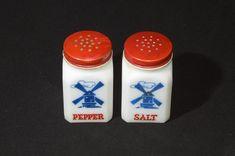 Hazel Atlas Windmill Vintage Milk Glass Salt and Pepper | Etsy Retro Vintage, Vintage Items, Pyrex, Windmill, Salt And Pepper, Milk Glass, Red And Blue, Stuffed Peppers, Etsy