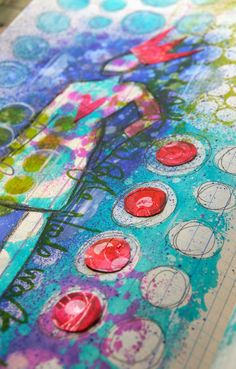 The Kathryn Wheel: more fun things to add on top of a gelli print:-)