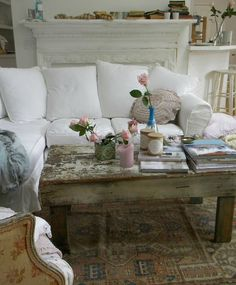 Shabby Chic Decor ● Living Room. I want this sofa in a smokey blue or gray color, with slipcovers!