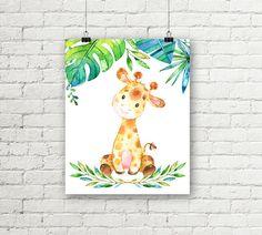 Conjunto de arte de la pared para imprimir en dulce safari selva vivero! Una jirafa bebé, elefante y León imprime con las plantas de la selva para mostrar en un vivero. Una impresión de género neutro en dos tamaños. Cada impresión también se ofrece solo en mi tienda, en caso de