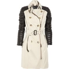 Burberry Prorsum Leather-sleeved cotton-twill trench coat ❤ liked on Polyvore