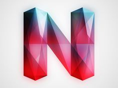 Letter N. i love the colors in the visible facets.  you can almost see into the letter itself