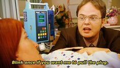 """When Dwight wanted to pull the plug on Meredith. 26 """"The Office"""" Quotes Guaranteed To Make You Laugh Every Time Best Tv Shows, Best Shows Ever, Office Jokes, Funny Office Quotes, Best Office Quotes, The Office Show, Office Tv, Office Gifs, Funny Memes"""