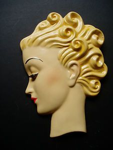 ART DECO STYLE WALL FACE- MASK - PLAQUE- HEAD