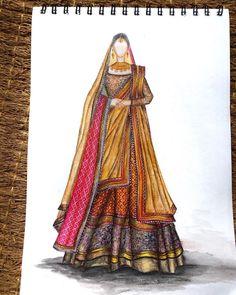 Fashion Illustration Dresses, Fashion Illustrations, Fashion Drawing Tutorial, Indian Wedding Wear, Bridal Lehenga, Hello Everyone, Indian Fashion, Guys, How To Wear