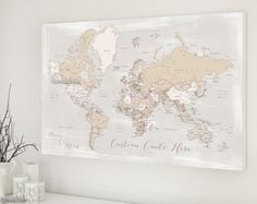 Husband gift personalized world map canvas print map wiht cities husband gift push pin map personalized world map by blursbyaishop gumiabroncs Image collections