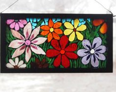 Horizontal Stained Glass Mosaic on Glass - Multicolored Garden of Flowers